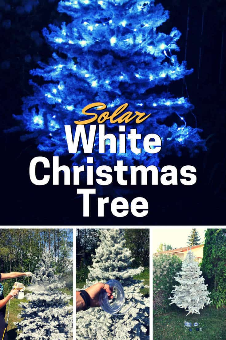 Solar White Christmas Tree
