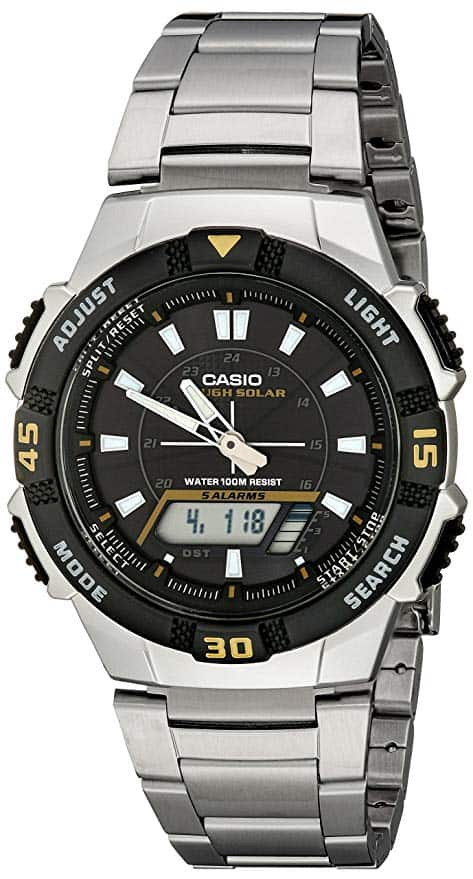 7 - Casio Men's AQS800WD-1EV Slim Solar Multi-Function Analog-Digital Watch