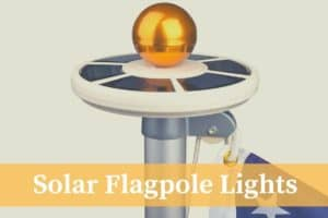 top of a solar flagpole light