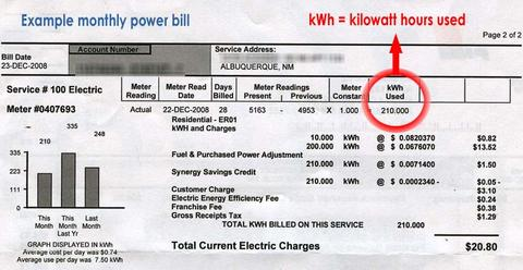 example of an household energy bill