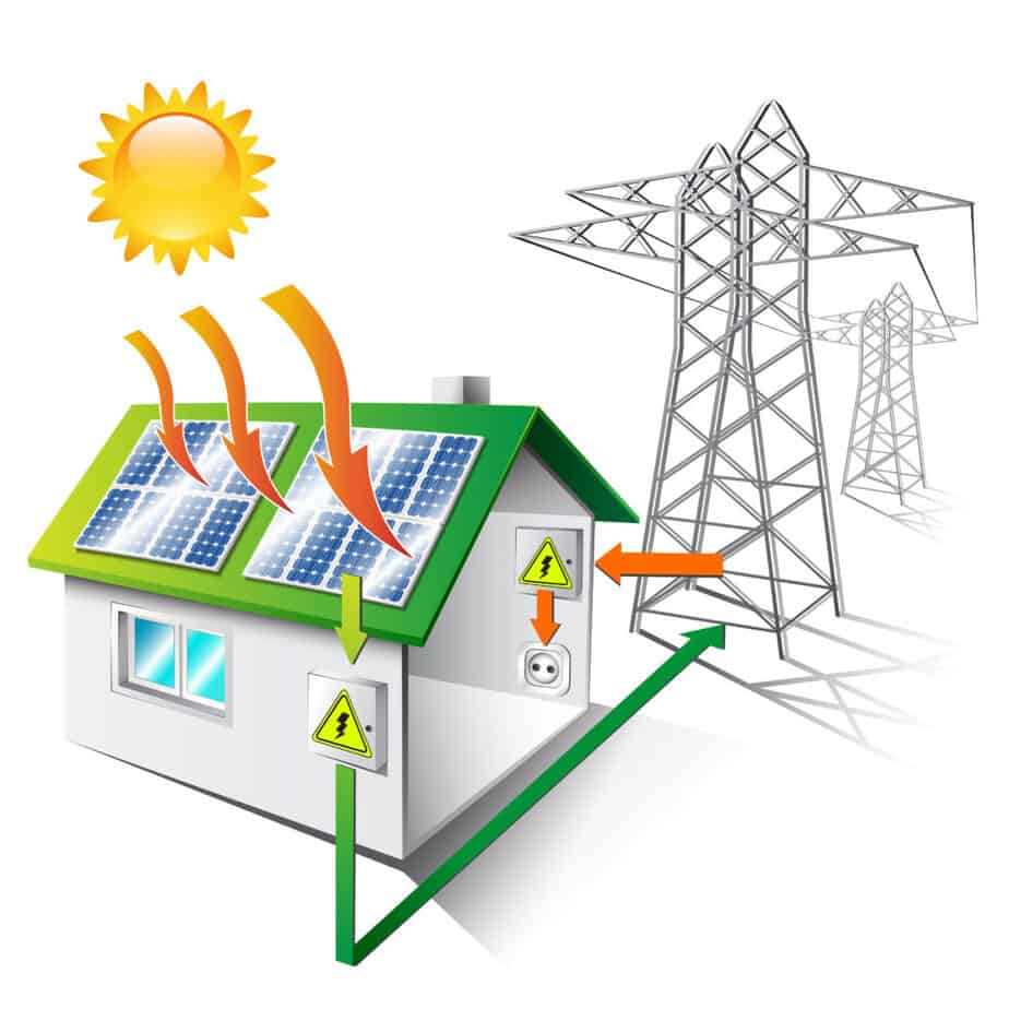 illustration of a house equipped for sale and use solar energy, isolated