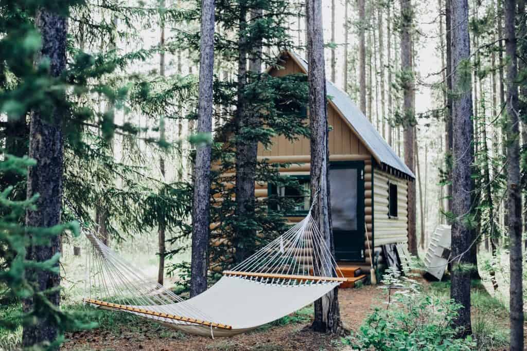a off grid solar cabin in the woods
