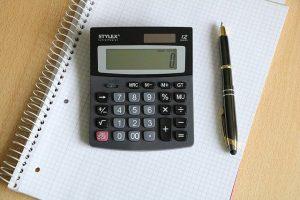 a calculator on a notebook